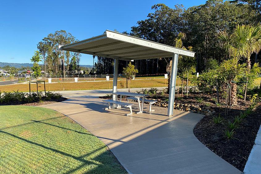 Sunshine Coast shelter and picnic bench installation
