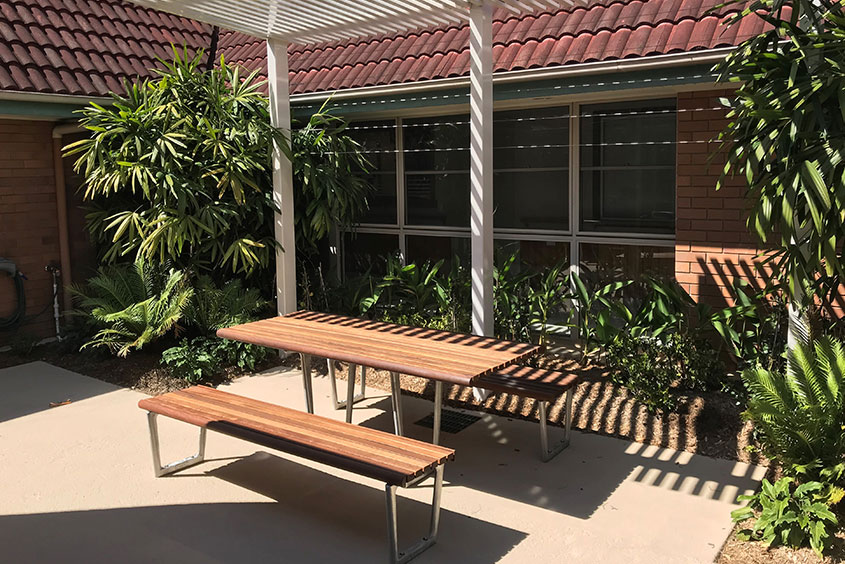 Queensland Aged Care Outdoor bench seat and shade