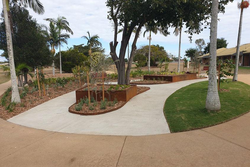 Queensland Aged Care paving edible garden