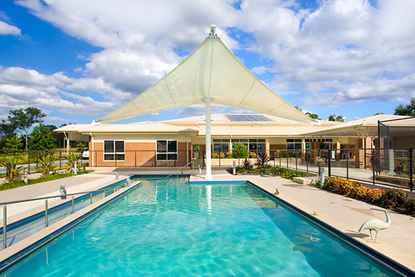 Aged care shade pool planting