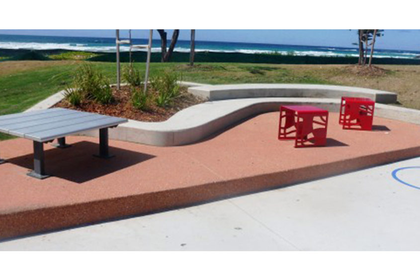 beach exit seating area