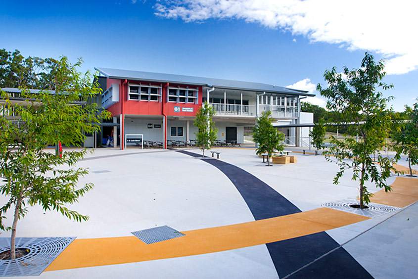 Qld college colour concrete feature entry
