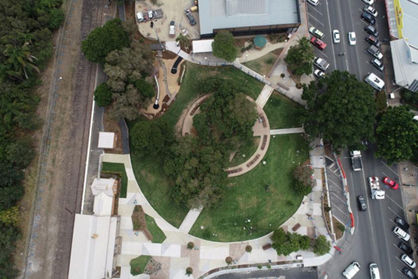 Aerial shot Railway Park, Byron Bay