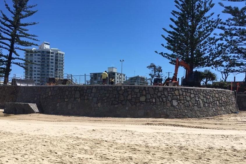 Sunshine Coast stone retaining wall