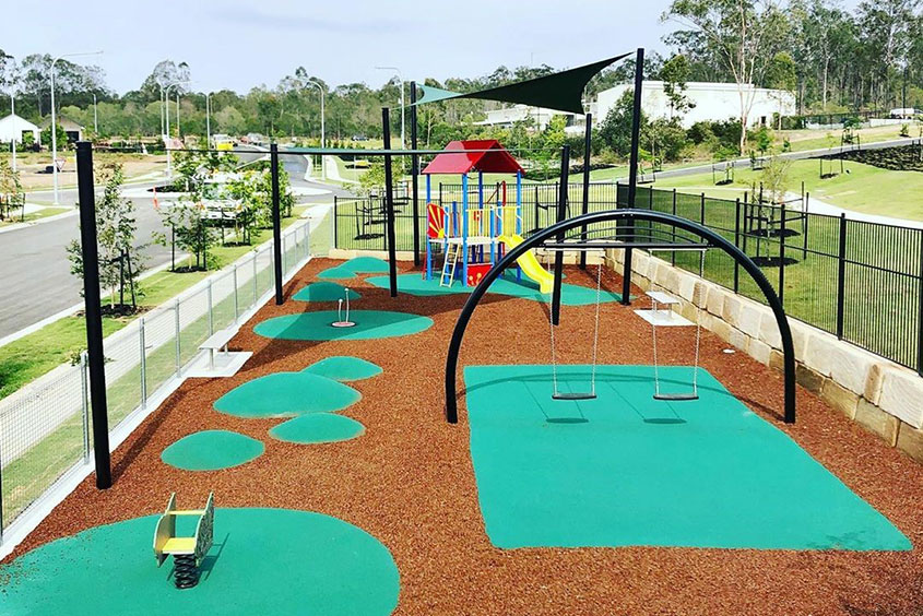 Playground landscaping shade sail