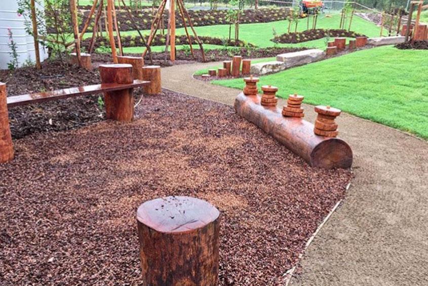 landscape design natural wood timber